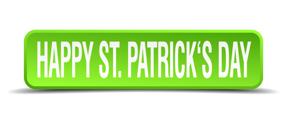 happy st patricks day green 3d realistic square isolated button