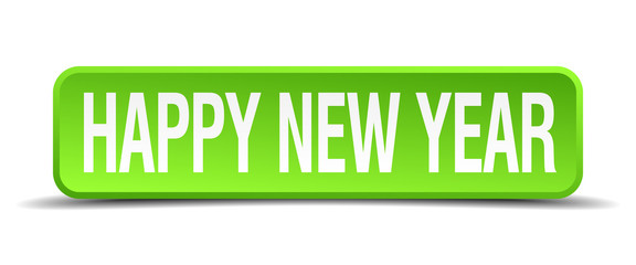 happy new year green 3d realistic square isolated button