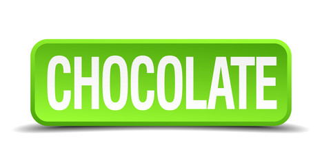 chocolate green 3d realistic square isolated button