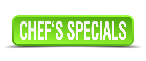 chefs specials green 3d realistic square isolated button