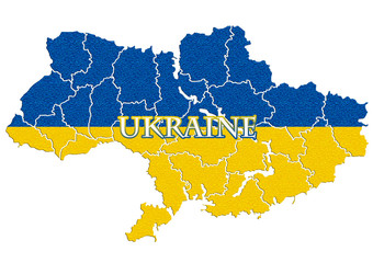 Map of Ukraine with national flag