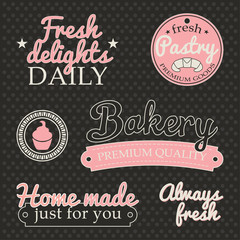 Retro collection of signs labels with BAKERY