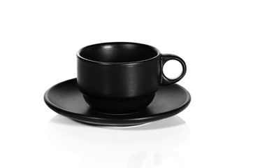 Black coffee cup isolated on a white background
