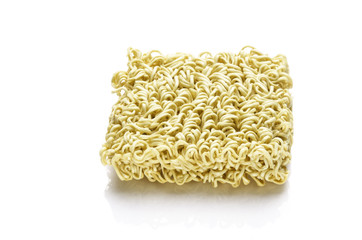 block of Instant noodles isolated on a white background