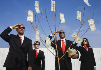 Multi-ethnic businesspeople saluting money tree