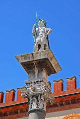 Italy, Ravenna, The Saint Vitale statue in People square.