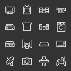 Home Appliance web icons, grey set