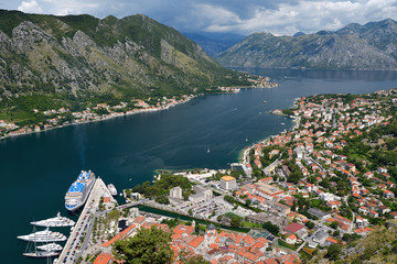 Top view on town Kotor and Bay of Kotor, Montenegro