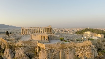 Acropolis Parthenon Aerial footage Panoramic view