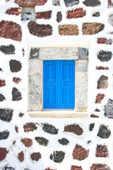 Santorini, Greece: detail of a window from a traditional church