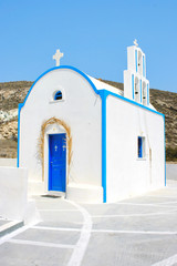 Santorini, Greece: traditional typical white and blue church