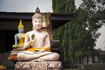Buddha statues at Wat Phu Khao Thong in Ayutthaya. Thailand.
