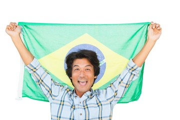 Football fan holding brazil flag and cheering