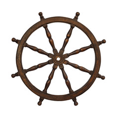 Old boat steering wheel isolated on the white background