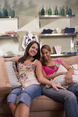 Multi-ethnic women at boutique