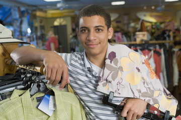 African male teenager clothing shopping