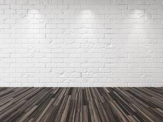 Empty whitewashed brick room background