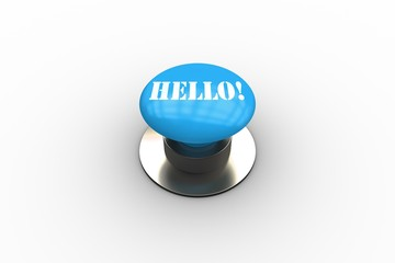 Hello on blue push button