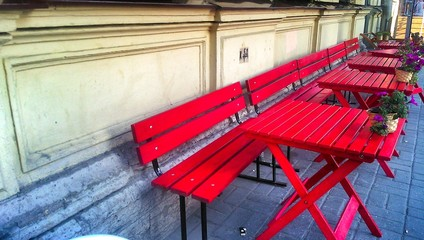 Red tables on the street cafeteria
