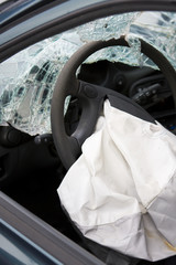 Airbag activated in crashed car.