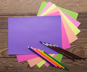 School stationery, cozy colors, paper, pencil, brush