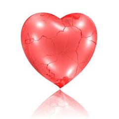sprödes rissiges Herz