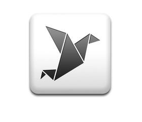 Boton cuadrado blanco 3D simbolo origami