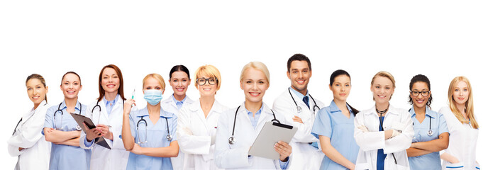 smiling doctors and nurses with tablet pc