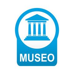 Etiqueta tipo app azul redonda MUSEO
