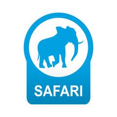 Etiqueta tipo app azul redonda SAFARI