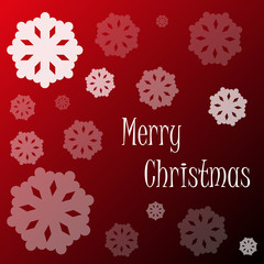 merry christmas snowflakes on red background