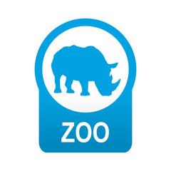 Etiqueta tipo app azul redonda ZOO
