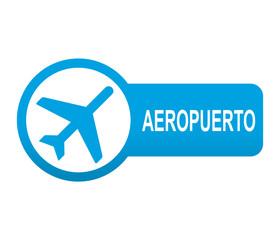 Etiqueta redonda azul alargada AEROPUERTO