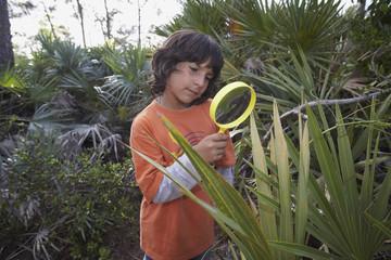 Hispanic boy looking through magnifying glass at plant