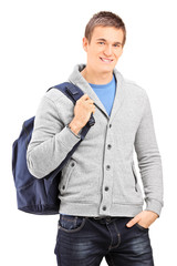 Male student carrying a backpack
