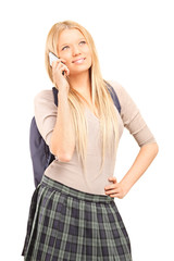 Schoolgirl talking on cell phone