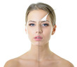 Leinwanddruck Bild - portrait of beautiful woman with problem and clean skin, aging a