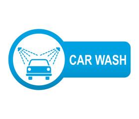 Etiqueta redonda azul alargada CAR WASH