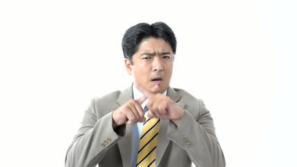 禁止の意思表示をするビジネスマン