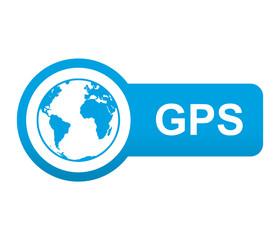 Etiqueta tipo app azul alargada GPS