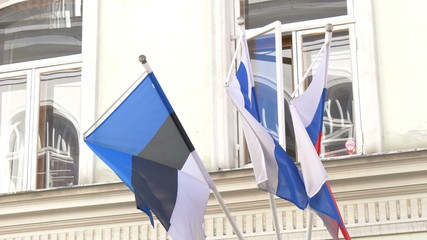 Three nations flag waving on the breeze of the wind GH4 4K UHD