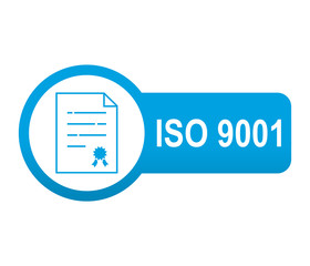 Etiqueta tipo app azul alargada ISO 9001
