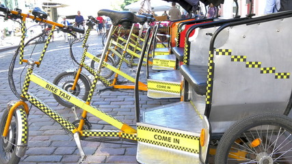 Lots of bike taxi or bicycle for rent GH4 4K UHD