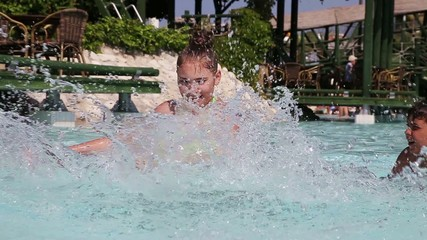 Children have fun in a swimming pool