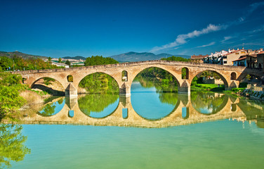 Romanesque bridge At Puente la Reina, Spain