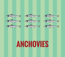 Anchovies - drawing on green background