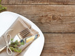 Rustic Table setting on old wooden table - 68440228