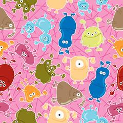 Bacteria. Seamless vector pattern. Medicine background