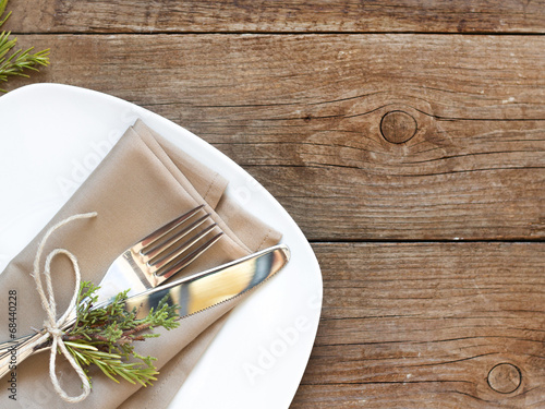 Fotobehang Boord Rustic Table setting on old wooden table