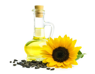 oil with sunflower seeds and isolated on white